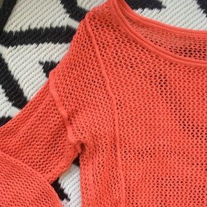 Coral fishnet tunic sweater cover up top summer